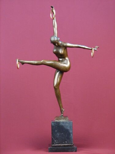 "23""SIGNED BRONZE STATUE GYMNAST ART DECO NUDE  SCULPTURE ON MARBLE BASE"