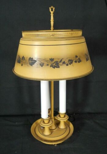 NVITAGE MID CENTURY FRENCH TOLEWARE YELLOW DECORATED LAMP