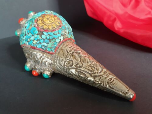 Old Tibetan Silver Covered Shell with Local Silver, Turquoise & Red Coral Stones