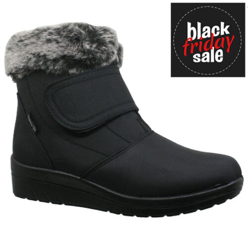 NEW LADIES WEDGE HEEL SNOW WINTER WARM FAUX FUR LINED COMFORT WOMEN ANKLE  BOOTS <br/> THERMO-TEX...SPECIAL OFFER***ONE WEEK ONLY***RRP £24.95