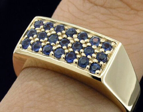 R153 Genuine 9ct or 18K Gold NATURAL Sapphire MENS Pave Signet Ring in your size