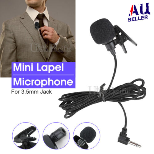 Lavalier Lapel Mic Clip-on Microphone Mini 3.5mm For Mobile iPhone PC Recording