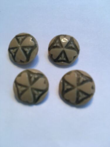 4 antique glass buttons lot art deco feel Hearts