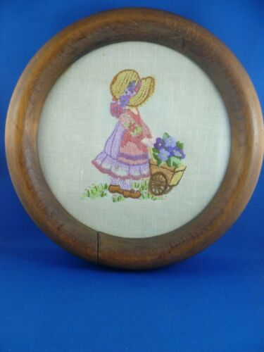 Vintage Hand Embroidered   Picture / Panel   Girl with floral garden trolley