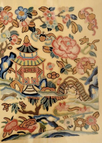 1900's Chinese Frame Silk Embroidery Gold Thread Forbidden Stitch Panel Pagoda
