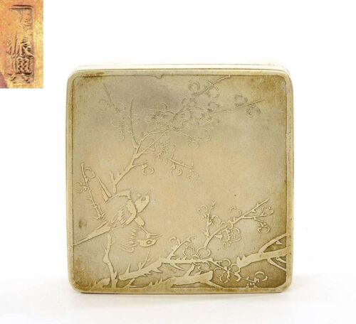 1930's Chinese White Copper Brass Paktong Baitong Scholar Ink Box Bird Marked
