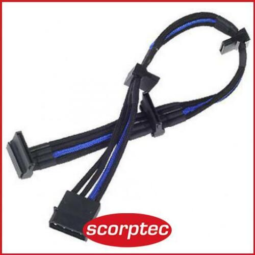 SilverStone 30CM Sleeved PP07 4Pin SATA Power Cable, Black/Blue