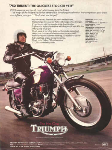 VINTAGE TRIUMPH TRIDENT 750 MOTORCYCLE AD POSTER PRINT 24x18 9MIL PAPER