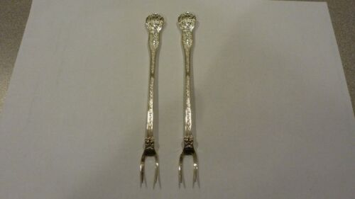 "2 OLYMPIAN BY TIFFANY & CO STERLING SILVER 6"" OLIVE COCKTAIL FORKS EXCELLENT"