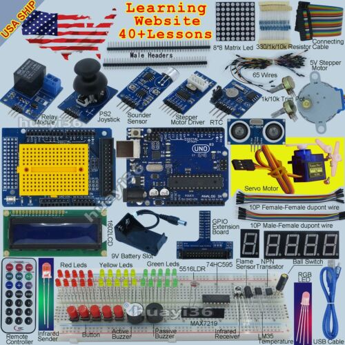 EPAL Ultimate Starter Kit (Arduino UNO R3 -Compatible) Ultrasonic Processing USA <br/> 40+ most detailed lessons, High Quality,Tech support