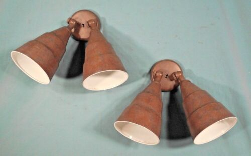 PAIR MID CENTURY INDUSTRIAL MARBLEIZED PAINTED TIN DOUBLE CONE WALL LIGHTS
