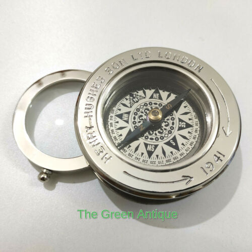 Brass Chrome Finish Flip Compass Magnifier Maritime Collectible Gift