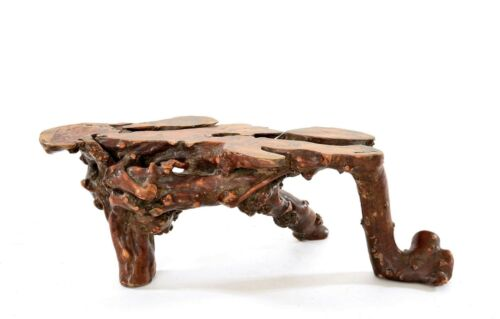 1900's Japanese Burl Wood Carved Carving Chinese Style Ikebana Flower Stand