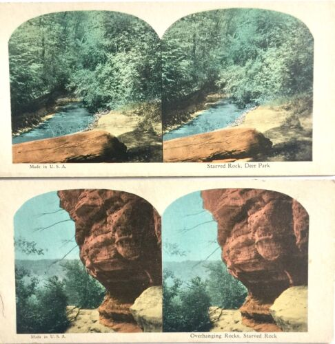 TWO ANTIQUE STEREOSCOPIC PHOTO CARDS ~ STARVED ROCK, DEER PARK, IL. STEREOVIEWS
