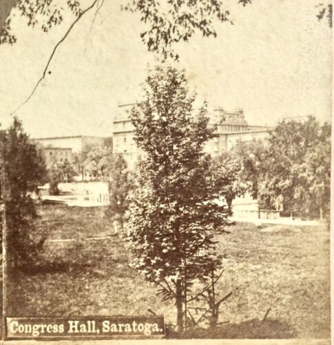 ANTIQUE 3-D STEREOSCOPIC PHOTO CARD ~ CONGRESS HALL, SARATOGA, N.Y. STEREOVIEW