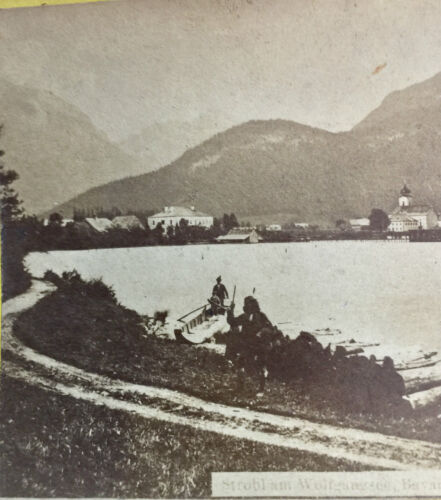 ANTIQUE STEREOSCOPIC CARD ~ WOLFGANGSEE LAKE, BAVARIA ~ ORIGINAL STEREOVIEW CARD
