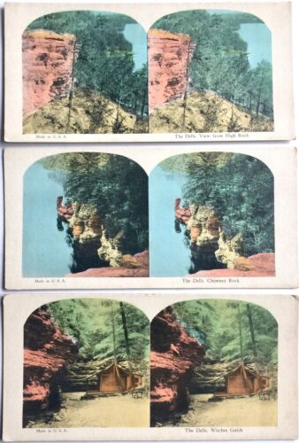 3 ANTIQUE 3-D STEREOSCOPIC PHOTO CARDS  THE WISCONSIN DELLS ~ COLOR STEREOVIEWS