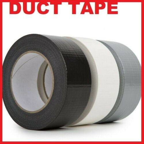 WHITE SILVER BLACK RED 48MM X 50M DUCK DUCT GAFFA GAFFER WATERPROOF CLOTH TAPE