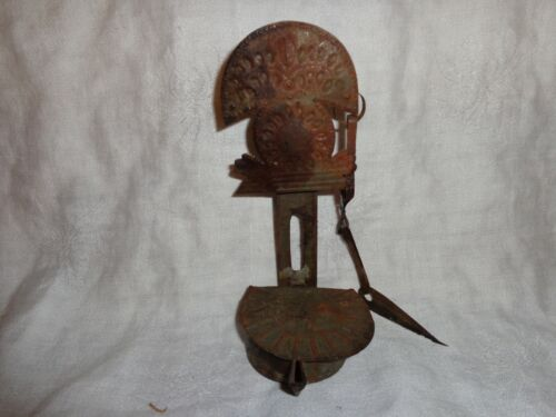 Antique Primitive 19th.c Lidded Tin Betty Lamp with Wick Pick