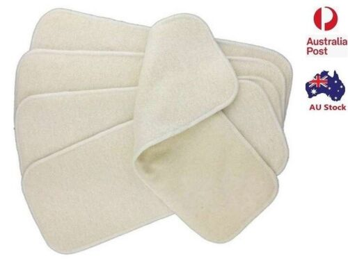 10 X  Hemp & Cotton 4 Layers Nappy Inserts Liners Insert for Modern Cloth Nappy