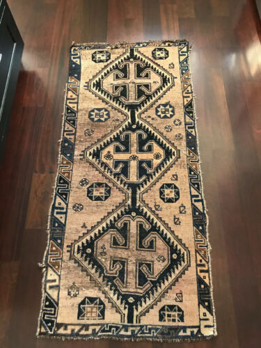 Vintage Turkish Persian Blue And Taupe Diamond Rug Art Deco Entry Rug