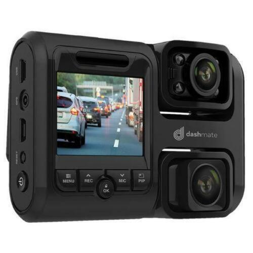 """Dashmate DSH-592IR Full HD Front & Infrared Cabin Dash Camera with 2.0"""" Screen,"""