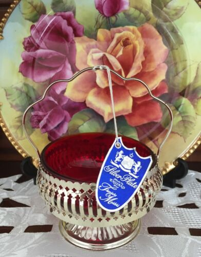 VINTAGE SILVER PLATE MADE IN ENGLAND FOR TREASURE MASTERS RUBY SUGAR BOWL