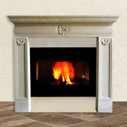 Artisan fireplace frames in hand-carved stone