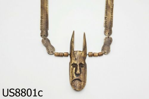 Antiques Ethnic Ritual Face Tribal Headhunters Nagaland Necklace #8801