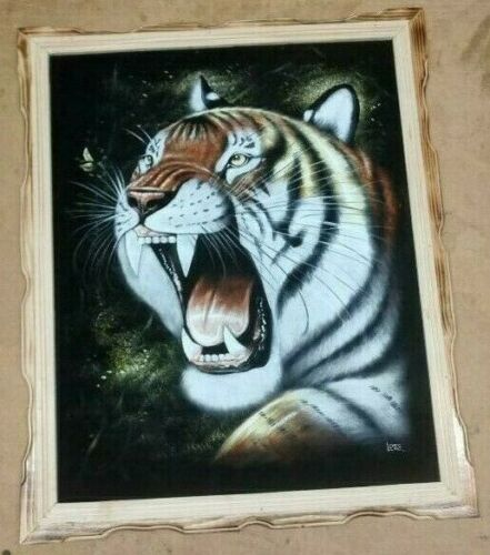 "TIGER FACE , Hand Painted ,VELVET PAINTING , 18"" BY 22"" W ,FRAME ,DECOR,#9, Cat"