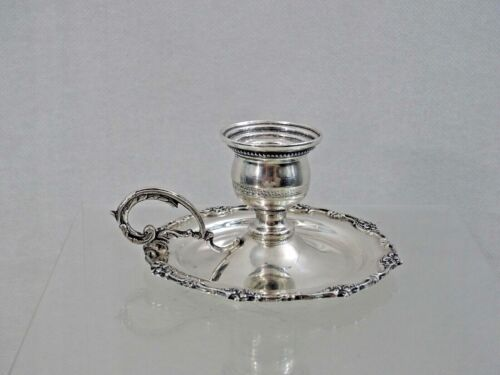 FINE ANTIQUE ISLAMIC SILVER SMALL CHAMBERSTICK CANDLESTICK EGYPT sterling