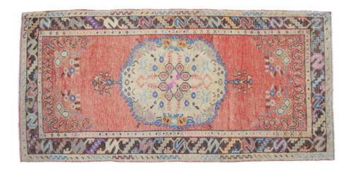 """Vintage Distressed Area Rug Hand Knotted Low Pile Turkish Oushak Rug 3'5"""" x 7'2"""""""