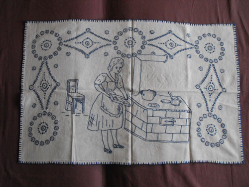 #1458  Vintage Hand Embroidered Tapestry  79cm/50cm(31''x20'')