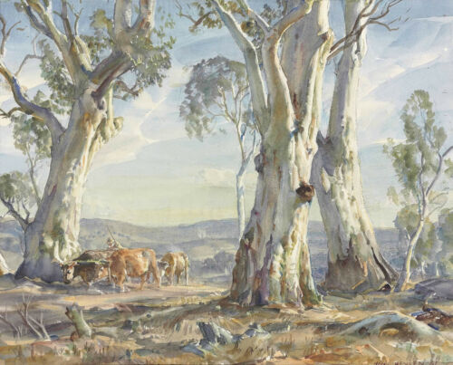 "Hans Heysen  Canvas Print  ""A Drover and Cattle""  Framed & Ready to Hang"