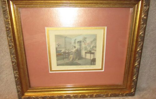 Wallace Nutting Small Hand Colored Framed Print Victorian Lady