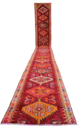 2x18 ft Runner Hand Knotted EXTRA LONG Runner Rug Low Pile Actual: 2.3x18.4 ft