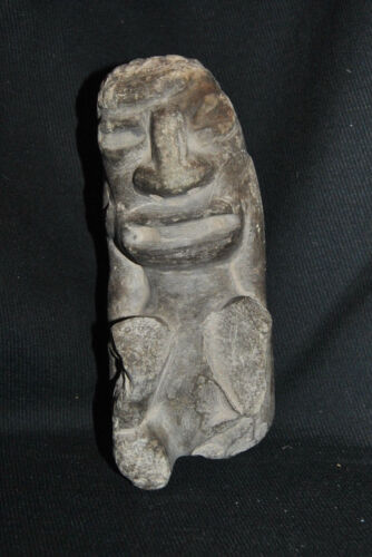 Antique Pre-Columbian Stone Figure Seated Man w/ Hands on Face