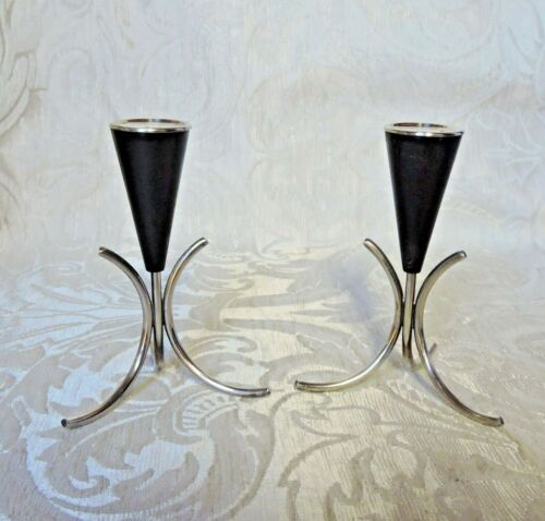 Coppia  piccoli candelieri Art Deco Norvegia 1930-50 Scandinavian Candle Sticks