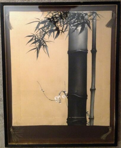 ANTIQUE JAPANESE FINE ART SCROLL / SCREEN HANDPAINTED BAMBOO BLACK INK on SILK