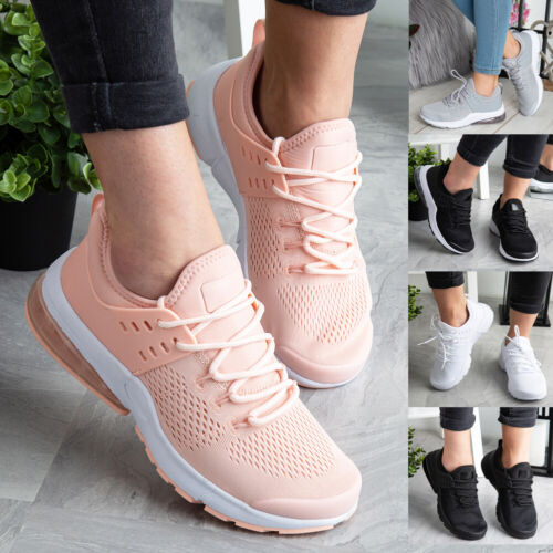 Ladies Trainers Running Womens Flat Comfy Gym Fittness Sports Lace Up Shoes Size