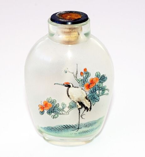 20C Chinese Inside Painted Crane & Landscape Glass Snuff Bottle w. No Stop (Pal)