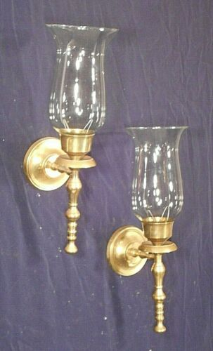 PAIR OF MID CENTURY REGENCY BRASS TORCHIERE SCONCES WITH HURRICANE SHADES