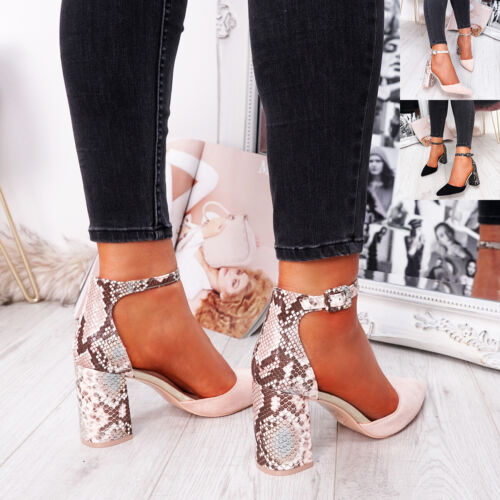 WOMENS LADIES SNAKE SKIN ANKLE STRAP HIGH BLOCK HEEL PUMPS POINTED SHOES SIZE