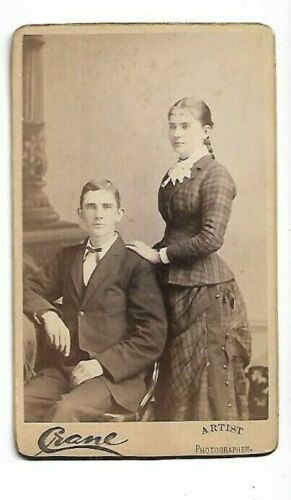 Man & woman - beautiful plaid dress; Photo by J D Crane, Holyoke, MA (4526)