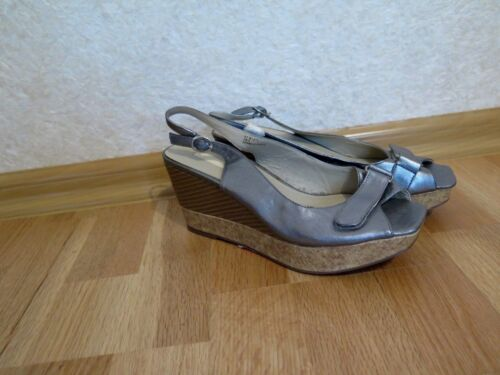 Dunnes Stores grey leather NEW shoes heel wedges sandles platform size 5/38
