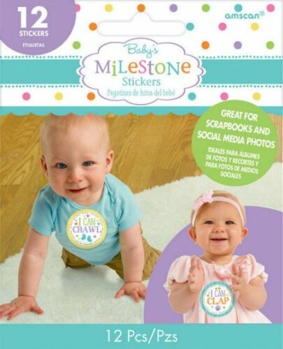 BABY MILESTONE STICKERS BABY SHOWER GIFTS SCRAPBOOKS PHOTO PROPS 12 PACK