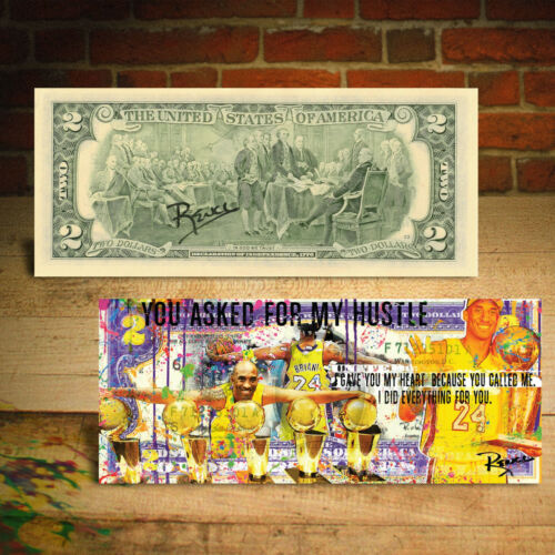 KOBE BRYANT 5-Time Championship Pop-Art Genuine $2 Bill - HAND-SIGNED by Rency