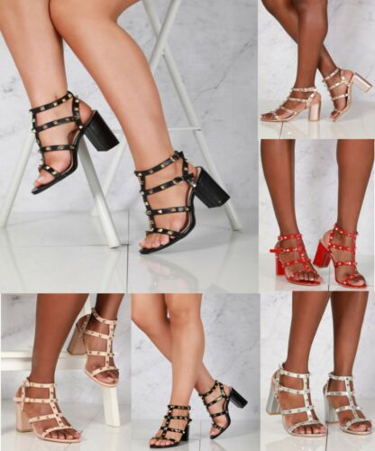 LADIES STUDDED STRAPPY HIGH BLOCK HEEL PEEP TOE EVENING PARTY SANDALS SIZES 3-8