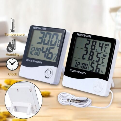Clock LCD Digital Temperature Humidity Meter -1 -2 Indoor Outdoor Hygrometer
