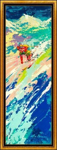 LeRoy Neiman Original Painting Oil on Board Signed Downhill Skier Authentic Art <br/> A Limited Edition Print was MADE FROM THIS PAINTING